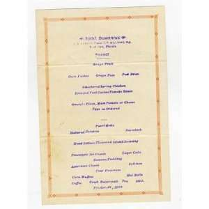 Hotel Suwanee Supper Menu Live Oak Florida 1928