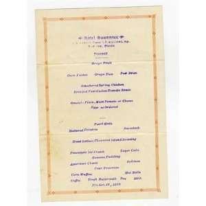 Hotel Suwanee Supper Menu Live Oak Florida 1928