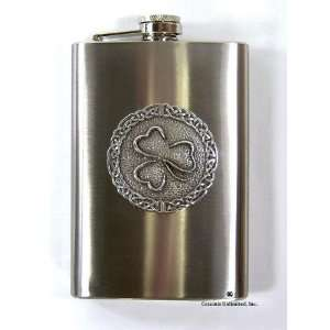 Irish Celtic Knot   Shamrock 8 oz Stainless Steel Hip