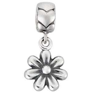 Bacio Italian Swarovski Bead Sterling Silver Dangling Flower Charm