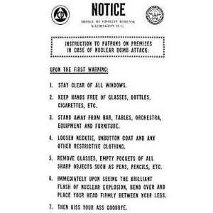 Atomic Bomb (Warning   Joke) Humor Poster Print   24 X 36
