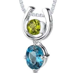 2.00 cts Round Peridot Oval London Blue Topaz Pendant in