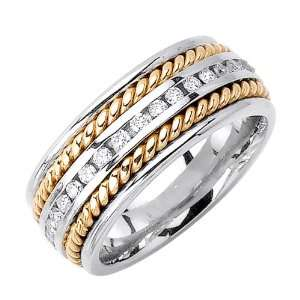 Beverly Diamonds Mens 14K 2 TONE GOLD DIAMOND WEDDING BAND