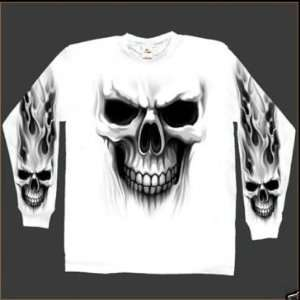 Mens Long Sleeve Skull Ghost Motorcycle Bike T Shirt XL