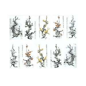 Painting Plum Blossom Tree Branch Full French Nail Water Decals