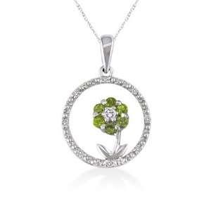 Peridot and Diamond Circle Pendant 10K White Gold Setting