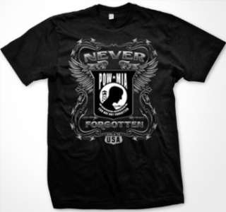 POW/MIA Never Forgotten Mens T shirt, Barbed Wire and Wings POW