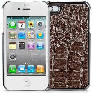 Ecell   COFFEE BROWN SNAKE SKIN CHROME BACK CASE FOR