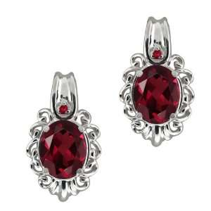 Oval Red Rhodolite Garnet Gemstone Sterling Silver Earrings Jewelry