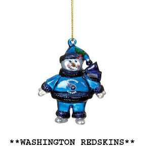 Pack of 10 NFL Washington Redskins Crystal Snowman
