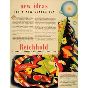 1939 Ad Reichhold Synthetic Resins Christmas Tree Toys