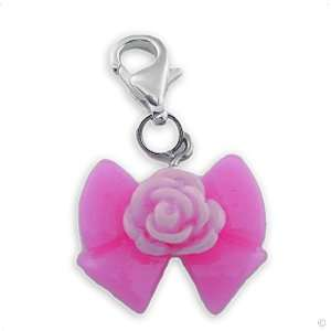 Ribbon pink with rose #9351, bracelet Charm  Phone Charm Jewelry