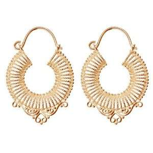 Silver Ribbed Circle Hoop Earrings with Filigree Detail Jewelry