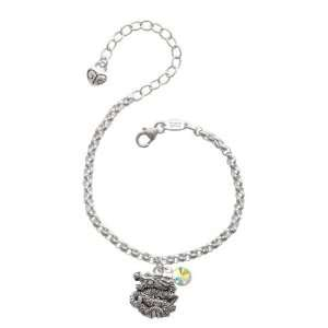 Chinese Dragon Silver Plated Brass Charm Bracelet with AB