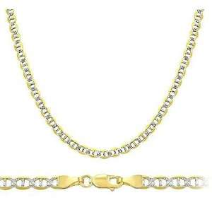 14k Yellow and White Gold Necklace Mariner Chain Solid Link Pave 3mm