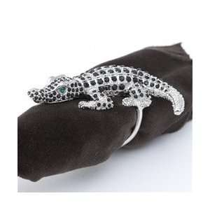 Objet Platinum Crocodile Napkin Rings, Black Swarovski Crystals Set