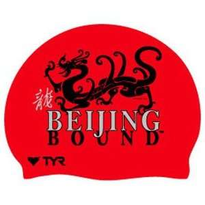 Beijing Bound Dragon Silicone Swim Cap   Red  Sports