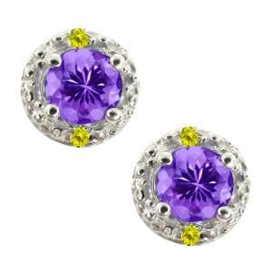 62 Ct Round Blue Tanzanite and Canary Diamond 18k White Gold Earrings