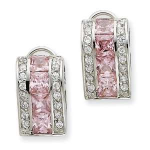 Sterling Silver Pink& Clear CZ Omega Back Earrings