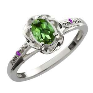Ct Oval Green Tourmaline Purple Amethyst 18K White Gold Ring Jewelry