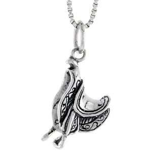 925 Sterling Silver Horse Saddle Pendant (w/ 18 Silver Chain), 11/16
