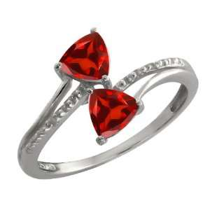 Ct Genuine Trillion Red Garnet Gemstone Argentium Silver Ring Jewelry