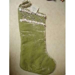 Christmas Stocking   Green Velvet w/ beads & white & pink flower trim