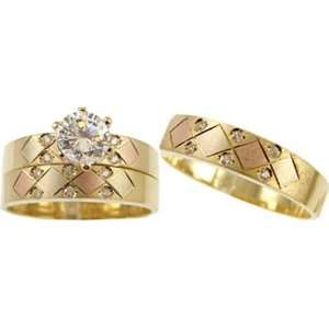 14k Yellow Gold, Trio Three Piece Wedding Ring Set with Lab Created