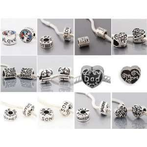 12) Twelve Antique Silver Family Pack of Spacer Beads Charms For