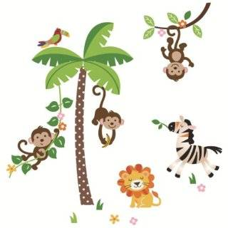 Trees with Monkeys Wall Decal Art Sticker Kids Mural