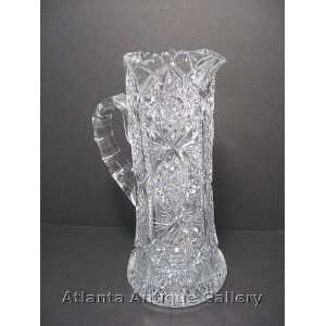 Brilliant Cut Glass Water or Lemonade Pitcher: Kitchen & Dining