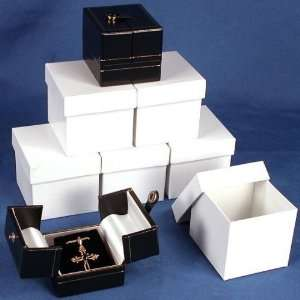 6 Earring Boxes Black & White Snap Lid Gift Display Box