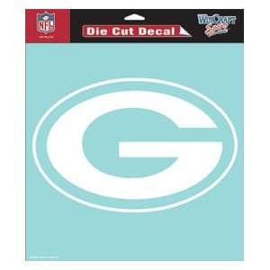 Green Bay Packers Die Cut Decal   8in x8in White  Sports