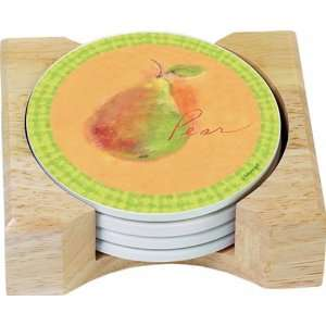 CounterArt Florentine Fruit Design Round Absorbent Coasters in Wooden