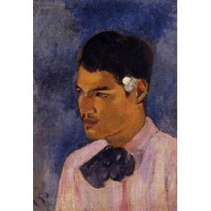 Oil Painting Young Man with a Flower Paul Gauguin Hand