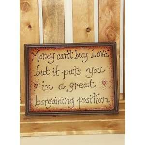 Money Cant Buy Love Funny Wood Framed Sign Kitchen