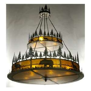 Lake 12LT 2 Tier Pendant, Antique Copper Finish with Amber Mica Panels