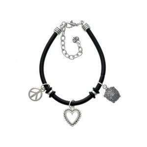 Silver Tortoise   Black Peace Love Charm Bracelet [Jewelry