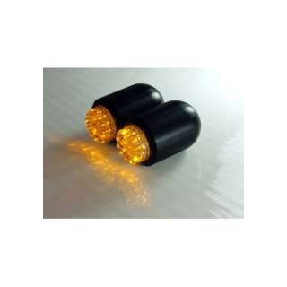 Amber LED Motorcycle Turn Signals in Black Mini Bullet