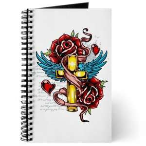Journal (Diary) with Roses Cross Hearts And Angel Wings on