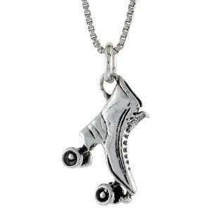 925 Sterling Silver Roller Skates Pendant (w/ 18 Silver Chain), 15/16