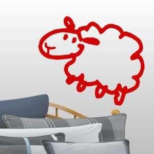 StikEez Red Large Sheep Fun Wall & Window Decal
