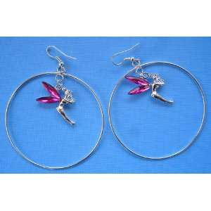 Flying Fairy Fuchsia Rhinestones Hoop Earrings