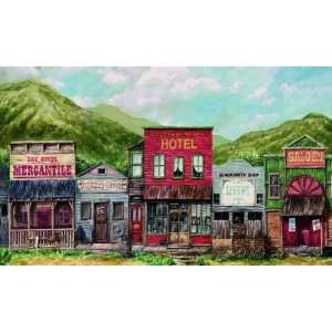 Go West Western Town Wallpaper Mural Full Wall Size