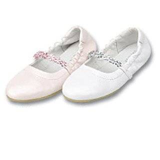 Ivory Flower Pearl Leather Ballet Flat Shoes Infant Toddler Girls