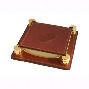 Detroit Red Wings Tan Leather Notepad Holder Sports