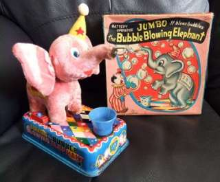 Jumbo, Bubble Blowing Elephant Vintage Tinplate Battery Toy, Y Co