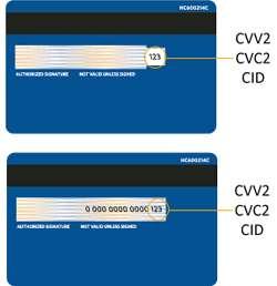 VISA CVV2, MasterCard CVC2, Discover CID
