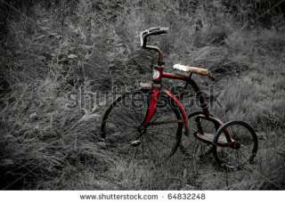 stock photo : a old antique tricycle on a grass path. Background is in