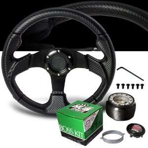Honda S2000 Carbon Style PVC Leather Steering Wheel with Hub Adaptor